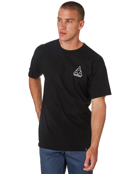 BLACK MENS CLOTHING HUF TEES - TS00478-BLACK