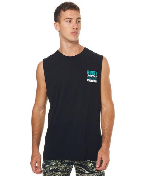 BLACK MENS CLOTHING RUSTY SINGLETS - MSM0224BLK