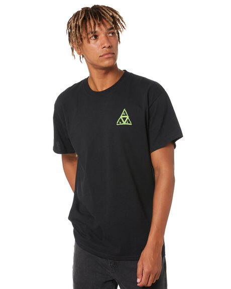 BLACK MENS CLOTHING HUF TEES - TS01607BLK