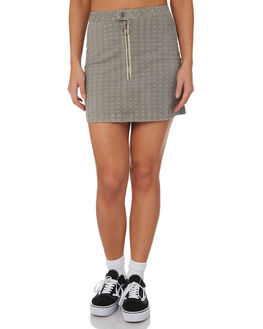 BLACK PLAID WOMENS CLOTHING RVCA SKIRTS - R282831BLKPL