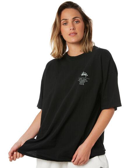 BLACK WOMENS CLOTHING STUSSY TEES - ST102005BLK