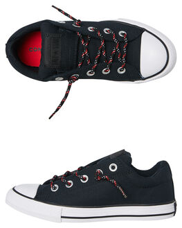 BLACK ENAMEL RED KIDS BOYS CONVERSE SNEAKERS - 662340BLK