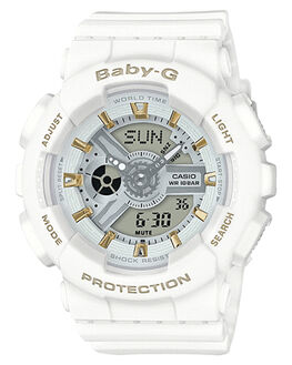 WHITE WOMENS ACCESSORIES BABY G WATCHES - BA110GA-7A1WHT
