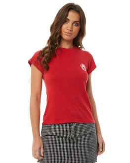 CHERRY RED WOMENS CLOTHING RVCA TEES - R283704CHERR