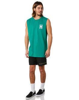 PALM GREEN MENS CLOTHING HUFFER SINGLETS - MTA83S2213PGRN
