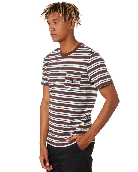 DEEP MAHOGANY MENS CLOTHING HUF TEES - KN00212DPMHG