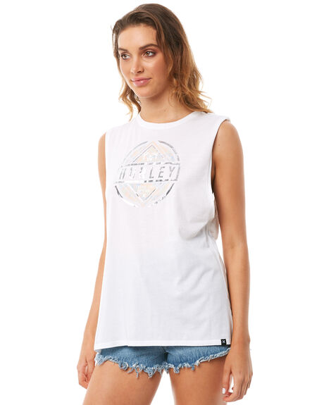 WHITE WOMENS CLOTHING HURLEY SINGLETS - AGSITRP10A