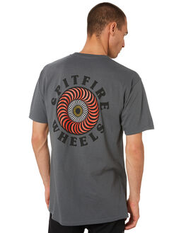 CHARCOAL MULTI MENS CLOTHING SPITFIRE TEES - 51010601BCHAR