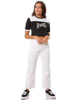 WHITE WOMENS CLOTHING AFENDS JEANS - W181451WHT