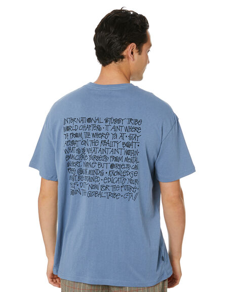 DUSTY BLUE MENS CLOTHING STUSSY TEES - ST001003DSTBL