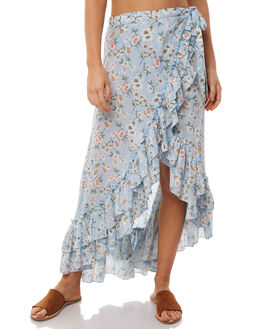 BLUE FLORAL WOMENS CLOTHING WILDE WILLOW SKIRTS - K349FLOR