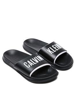 BLACK WOMENS FOOTWEAR CALVIN KLEIN SLIDES - KW01033BEH