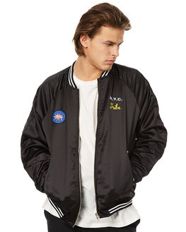 BLACK MENS CLOTHING STUSSY JACKETS - ST076512BLK