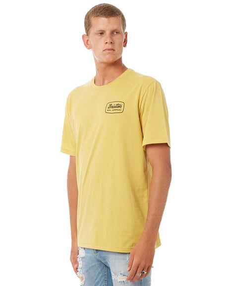 WASHED YELLOW MENS CLOTHING BRIXTON TEES - 06433WAYEL