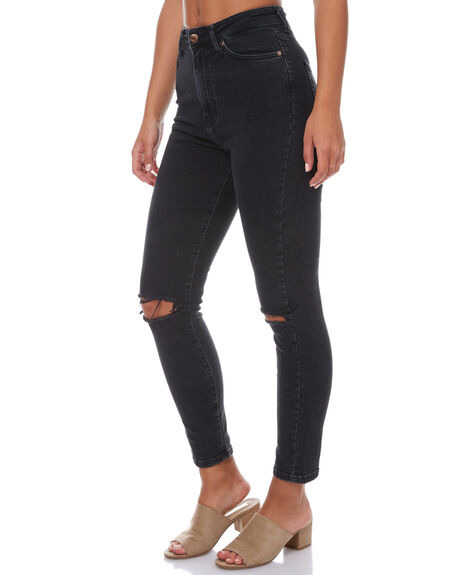 OLD BLACK DESTROYED WOMENS CLOTHING DR DENIM JEANS - 1410104-049OLDB