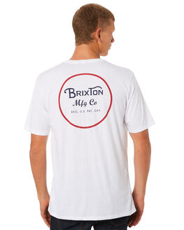 WHITE RED MENS CLOTHING BRIXTON TEES - 06485WHRED