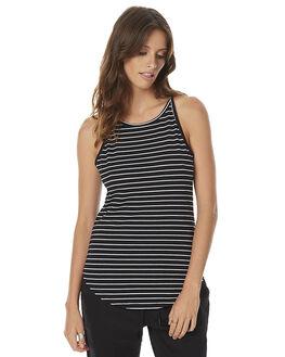 BLACK WHITE STRIPE WOMENS CLOTHING SWELL SINGLETS - S8161280BLW