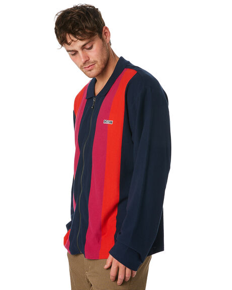 MILD NAVY MULTI MENS CLOTHING OBEY JACKETS - 131040018NVM