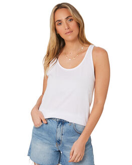 WHITE WOMENS CLOTHING AS COLOUR SINGLETS - 4044WHITE