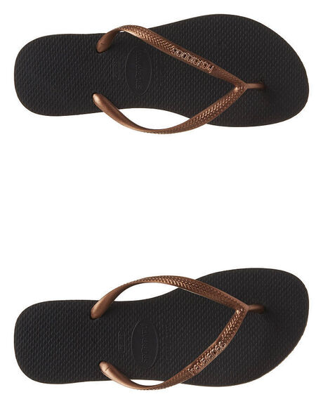 d0dde5e660981a Havaianas Slim Metal Logo Thong - Black Copper Gold