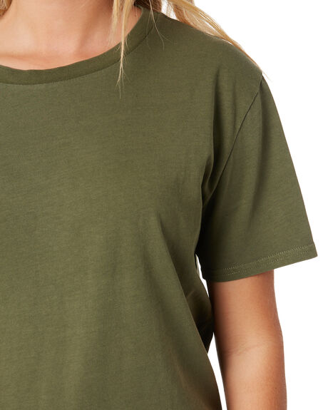 ARMY GREEN COMBO WOMENS CLOTHING VOLCOM TEES - B3532076ARC