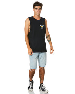BLACK MENS CLOTHING THE LOBSTER SHANTY SINGLETS - LBSFROTHCMBLK