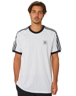 WHITE BLACK MENS CLOTHING ADIDAS TEES - DU8318WHT