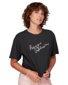 PIRATE BLACK WOMENS CLOTHING RVCA TEES - RV-R292682-PTK