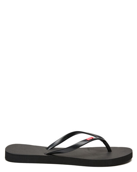 BLACK STRAWBERRY WOMENS FOOTWEAR RUSTY THONGS - FOL0362BAW