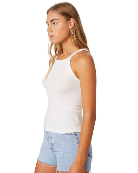 DIRTY WHITE WOMENS CLOTHING THRILLS SINGLETS - WTS9-103AWHI