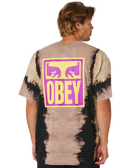 BLACK MENS CLOTHING OBEY TEES - 167372155BLK