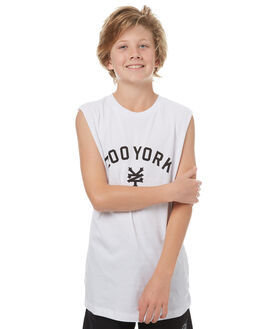 WHITE KIDS BOYS ZOO YORK SINGLETS - ZY-YTC7137WHI