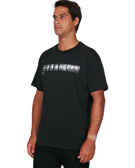 BLACK MENS CLOTHING RVCA TEES - RV-R106067-BLK
