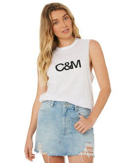 WHITE BLACK WOMENS CLOTHING C&M CAMILLA AND MARC SINGLETS - SCMT6515WHBK