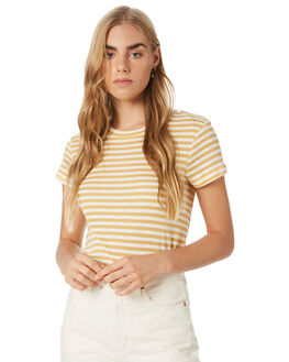 MUSTARD STRIPE WOMENS CLOTHING NUDE LUCY TEES - NU23555MSTST