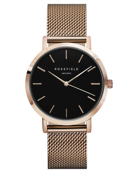 BLACK ROSE GOLD WOMENS ACCESSORIES ROSEFIELD WATCHES - MBR-M45BLKRS