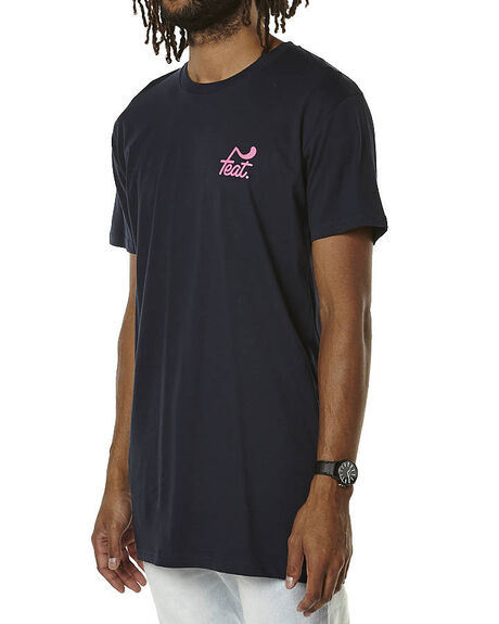 NAVY PINK MENS CLOTHING FEAT TEES - FTTTLOG01NVYPK