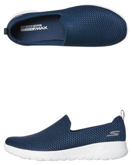 NAVY WHITE WOMENS FOOTWEAR SKECHERS SLIP ONS - 15600NVW