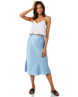 SOFT BLUE WOMENS CLOTHING LULU AND ROSE SKIRTS - LU23705BLUE