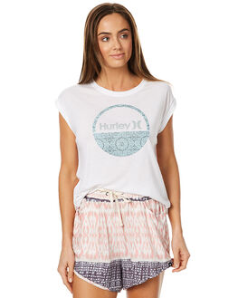 WHITE WOMENS CLOTHING HURLEY TEES - AGTSOKRN10A