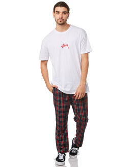 RED CHECK MENS CLOTHING STUSSY PANTS - ST082622REDCH