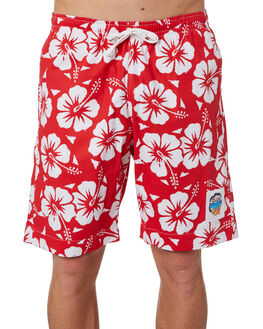 RED MENS CLOTHING OKANUI BOARDSHORTS - OKBOHBRDRED