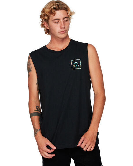 BLACK/MULTI MENS CLOTHING RVCA SINGLETS - RV-R182010-BU8