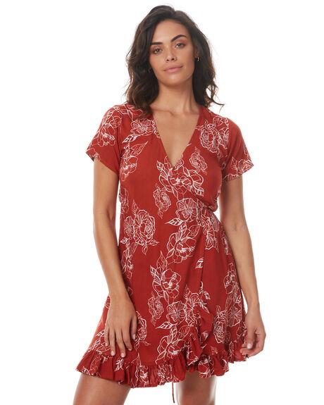RUST FLORAL WOMENS CLOTHING RUE STIIC DRESSES - SRC5RFLR