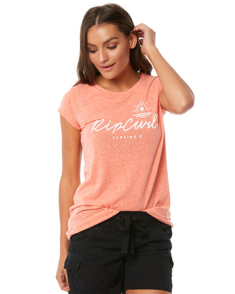 BRIGHT CORAL WOMENS CLOTHING RIP CURL TEES - GTEVV19342