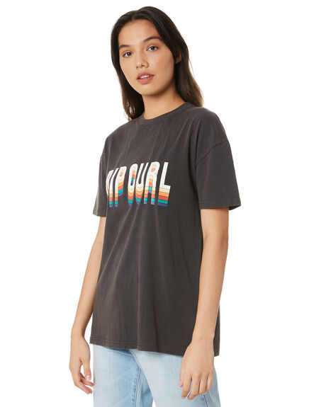 BLACK WOMENS CLOTHING RIP CURL TEES - GTEJL90090