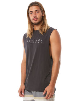 VINTAGE BLACK MENS CLOTHING THRILLS SINGLETS - TH8-106VBVBLK