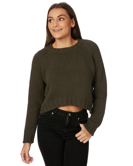 OLIVE WOMENS CLOTHING AFENDS KNITS + CARDIGANS - W182560OLI