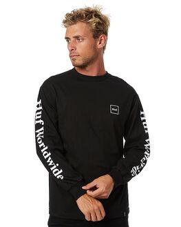 BLACK MENS CLOTHING HUF TEES - TS00031BLK