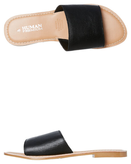BLACK WOMENS FOOTWEAR HUMAN FOOTWEAR SLIDES - RIVERBLK